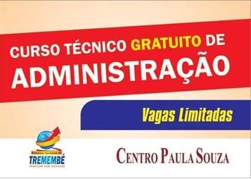 Prefeitura e Centro Paula Souza oferecem curso técnico gratuito de administração.