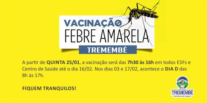 FEBRE AMARELA: Vacinação começa dia 25 em Tremembé