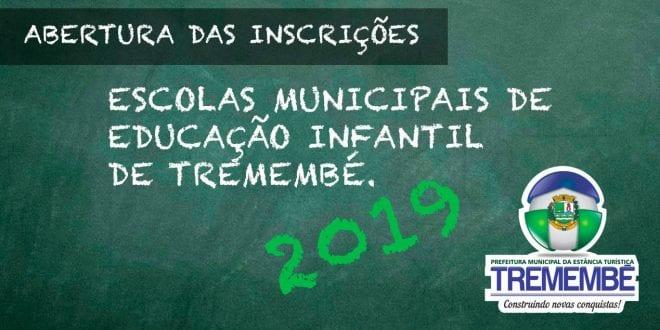 Abertura para candidatos à inscrição nas escolas municipais de educação infantil de Tremembé